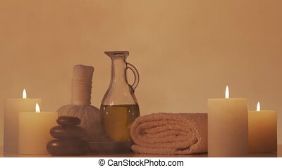 Spa background composition. Massage, oriental therapy, ...
