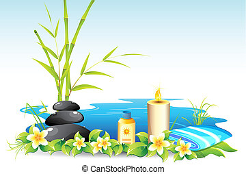 Spa Background - illustration of massage stone with candle...