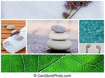 Collection of spa related items forming a set of tranquil scene