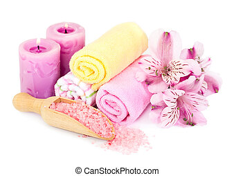 Spa background with bath accessories