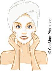Spa, beautiful woman, massage, mask