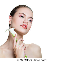 Spa beauty. Beautiful woman with white flower isolated on white. Facial treatment, cosmetology, beauty, skincare and wellness