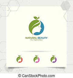 Spa beauty logo vector design with concept of green nature. Spa and treatment logo for salon beauty clinic.