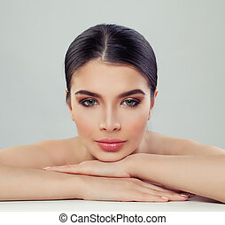 Spa beauty portrait of healthy young woman. Female face closeup
