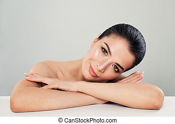 Spa Beauty Portrait of Nice Woman Spa Model with Healthy Skin and Cute Face
