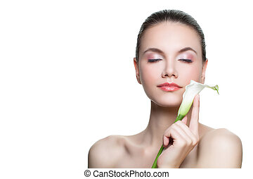 Spa beauty portrait of perfect healthy woman with white flower isolated on white background with copy space