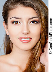 spa beauty - Portrait of young woman with natural make-up ...