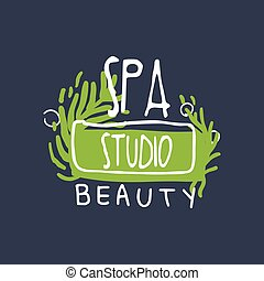 Spa, beauty studio logo design, emblem for wellness, yoga center hand drawn vector Illustration
