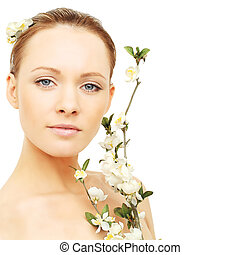 Spa beauty - woman with blossom