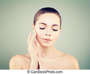 spa beleza, modelo, portrait., skincare