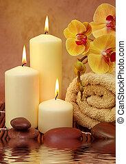 spa, blanc, bougies