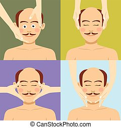 spa., bovenzijde, kaal, gezichts, man, hebben, masseren, aanzicht