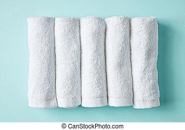 spa, branca, azul, toalhas, acima
