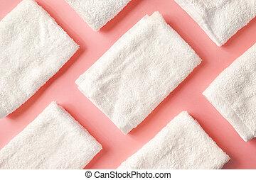 spa, branca, cor-de-rosa, toalhas, acima