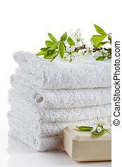 spa, branca, pilha, toalhas