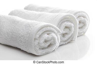spa, branca, toalhas