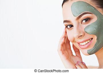 spa, care., mulher, cosmético, rosto, pele, beleza, facial, mask.