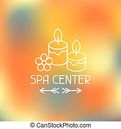 Spa center label on blurred background - Spa center label on...
