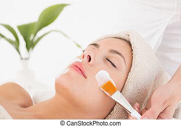 spa, centre, réception, traitement, séduisant, femme