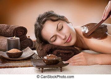 spa, chocolade, mask., behandeling, luxe