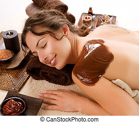 spa, chocolat, mask., traitement, luxe
