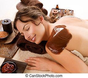 spa, chocolate, mask., luxo, tratamento spa