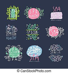 Spa club, beauty studio logo set, badge for wellness, yoga center hand drawn vector Illustrations