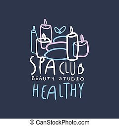 Spa club, healthy and beauty studio logo design, emblem for wellness, yoga center hand drawn vector Illustration