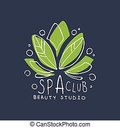 Spa club, healthy studio logo template, emblem for wellness, yoga center hand drawn vector Illustration