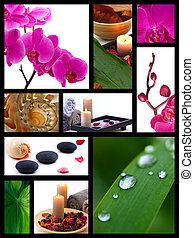 Spa collage - A collage of photos on the spa. Still life...