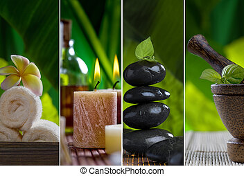 spa collage - Close up view of spa theme objects on natural ...