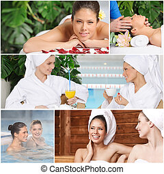 Spa Collage - Girl friends having fun at spa