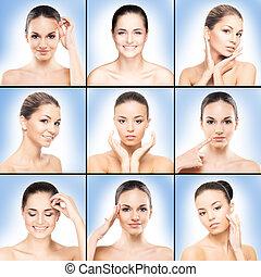 spa, collage, met, mooi, gezonde , vrouwen
