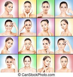 spa, collage, met, mooi, jonge, gezonde , op, kleurrijke, achtergrond.