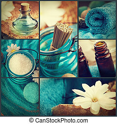 Spa collage series. Spa collage made of five images. Floral...