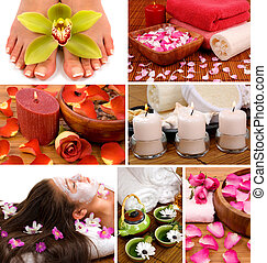 Spa Collage - Spa collage with aromatherapy, skincare,...