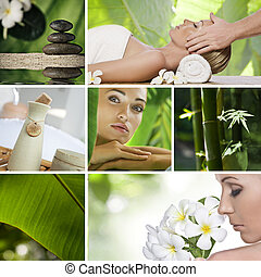 spa collage - Spa theme photo collage composed of different...