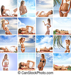 Spa collage with some nice shoots of young and healthy women...