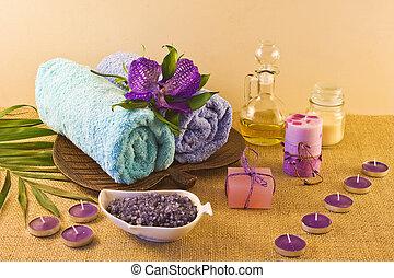 spa, composição, em, azul, e, violeta, cores