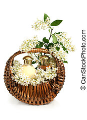 Spa composition in basket with branch of bird cherry