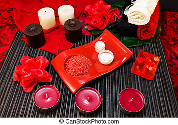 Spa composition in red colors