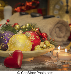 SPA composition with Christmas decoration