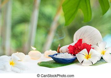 spa, conceito, erva, sal, plumeria, flores, trópico, folha