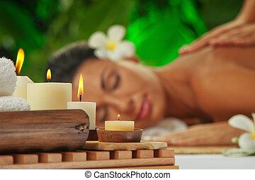 spa., concentré, sur, bougies