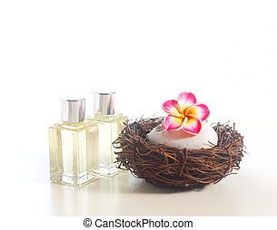 Spa concept - Flower brooch on stone in the nest