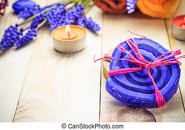 Spa concept herbal soaps scented candles