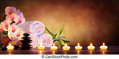 spa, concept, -, masage, pierres, à, serviettes, et, bougies, dans, naturel, fond