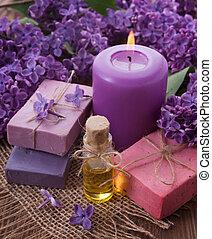 spa, concept., sabonetes, óleo, vela, lilás
