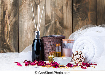 Spa concept - Spa still life with aromatic candles and...