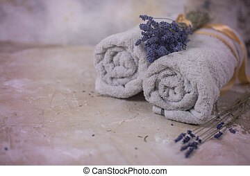Spa concept, towels with lavender flowers